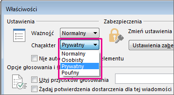 Kliknięcie pozycji Prywatne obok pozycji Charakter.