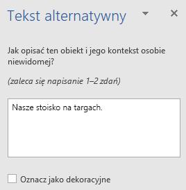 Okienko tekstu alternatywnego Win32 programu Word do kształtów
