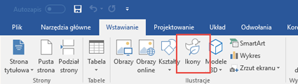 W grupie Ilustracje znajdują się narzędzia umożliwiające dodawanie do dokumentu kształtów, ikon, grafik SmartArt i innych obiektów