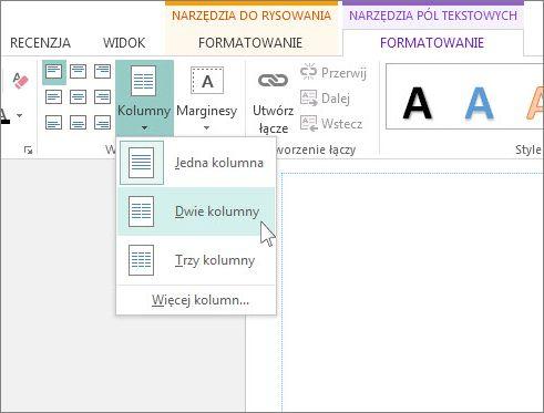 Zrzut ekranu przedstawiający pozycję Kolumny w obszarze Narzędzia pól tekstowych w programie Publisher.