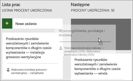 Zrzut ekranu przedstawiający przenoszenie zadania z jednej kolumny tablicy zadań do innej.