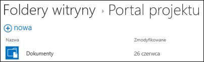 Wybierz witrynę na liście Foldery witryny w usłudze Office 365, aby wyświetlić biblioteki dokumentów w tej witrynie.