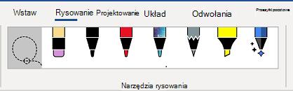Karta narzędzia do rysowania na wstążce programu Word.
