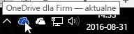 Zrzut ekranu przedstawiający kursor umieszczony na niebieskiej ikonie usługi OneDrive z tekstem OneDrive dla Firm.