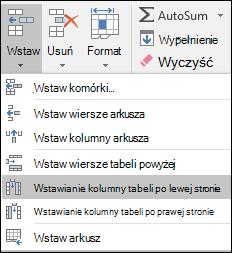 Aby dodać kolumny tabeli na karcie Narzędzia główne, kliknij strzałkę na wstawianie > Wstaw kolumny tabeli po lewej stronie.