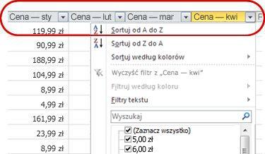 Autofiltry widoczne w nagłówkach kolumn tabeli programu Excel