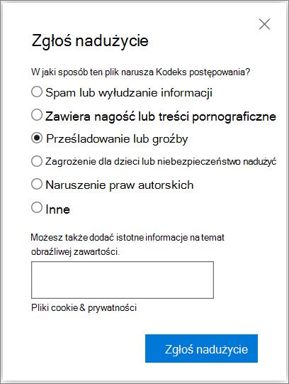 Zrzut ekranu przedstawiający okno dialogowe abuse raportu pole w usłudze OneDrive