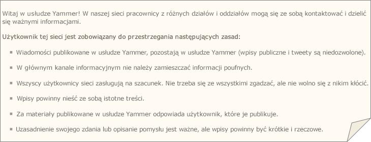 Przykładowe zasady usługi Yammer