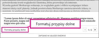 Przycisk Formatuj przypisy dolne w obszarze edytowania przypisu dolnego aplikacji Word Online