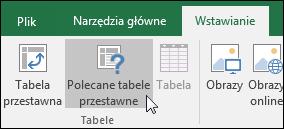 Przejdź do pozycji Wstawianie > Polecane tabele przestawne, aby program Excel samodzielnie utworzył tabelę przestawną