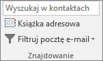 W programie Outlook, na karcie Narzędzia główne w grupie znajdowanie wybierz książkę adresową.