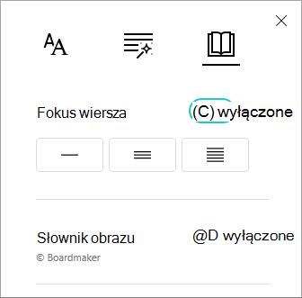 Przełącznik menu fokus wiersza