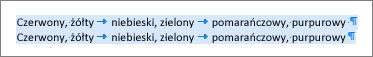 Przykład źródłowego tekstu gotowego do przekonwertowania na tabelę