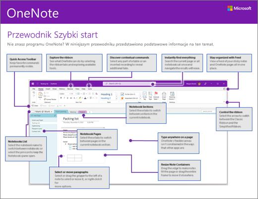 Przewodnik Szybki start dla programu OneNote 2016 (Windows)