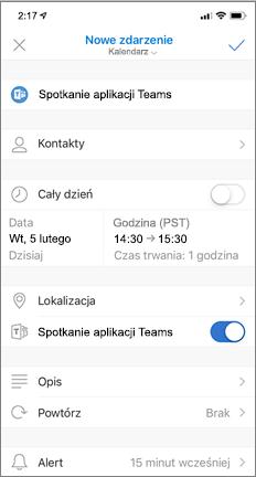 Nowe zdarzenie z włączonym spotkaniem aplikacji Teams
