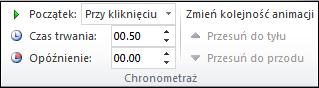 Opcje chronometrażu dla animacji w programie PowerPoint