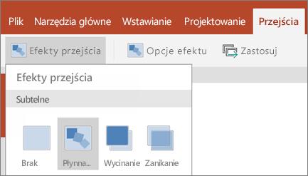 Przejścia > Efekty przejścia > Morph w programie PowerPoint dla systemu Android.