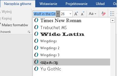 Nowa czcionka jest teraz wyświetlana na liście czcionek w programie Word.