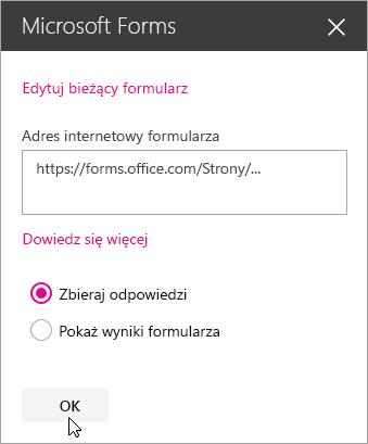 Po utworzeniu nowego formularza panel składnika Web Part programu Microsoft Forms pokazuje adres internetowy formularza.