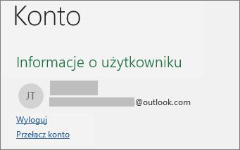 Wyświetla link wylogowania w widoku Backstage pakietu Office w systemie Windows
