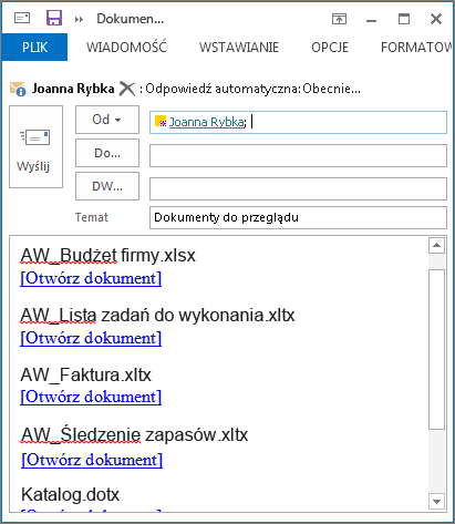 Łącza do dokumentów w wiadomości e-mail