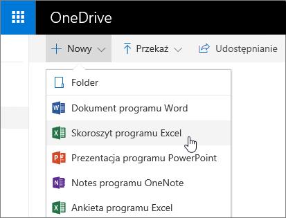 Menu Nowy w usłudze OneDrive, polecenie Skoroszyt programu Excel