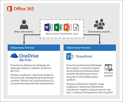 Diagram przedstawiający sposób korzystania z dwóch typów magazynów: usługa OneDrive lub witryny zespołu