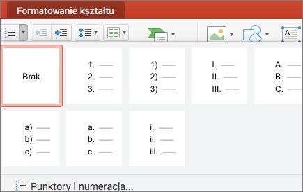 Zrzut ekranu przedstawiający style numerowania dostępne po wybraniu strzałki na przycisku Numerowanie