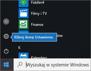 W menu Start kliknij ikonę Ustawienia systemu Windows