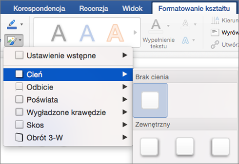 Na karcie Formatowanie kliknij przycisk efekty.