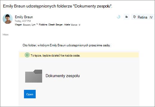 Wyślij wiadomość e-mail z łączem, aby udostępnić folder usługi OneDrive