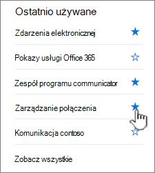 Kliknij gwiazdkę w witrynie na pasku nawigacji z lewej strony
