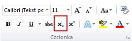 polecenie Indeks dolny w grupie Czcionka