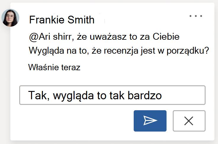 Obraz komentarza przedstawiający przycisk Księguj. Przycisk Księguj znajduje się w dolnym righthandym rogu karty komentarza podczas przygotowywania nowego komentarza lub odpowiedzi na komentarz.