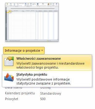 Obraz menu Właściwości pliku