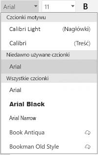 Lista czcionek