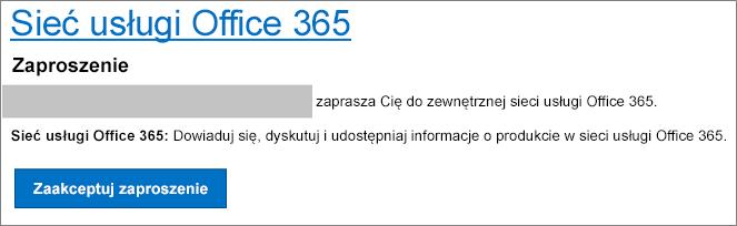 Akceptacja zaproszenia do sieci zewnętrznej w wiadomości e-mail