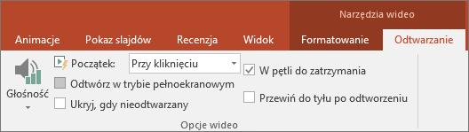 Opcja W pętli do zatrzymania w obszarze Narzędzia wideo w programie PowerPoint