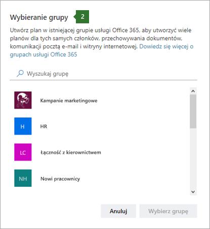Zrzut ekranu: Wybieranie grupy, okno dialogowe