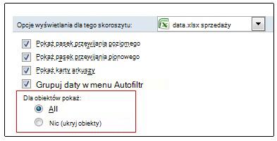 Opcje pokazywania i ukrywania obiektów w oknie dialogowym Opcje programu Excel