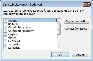 Okno dialogowe Lista zablokowanych kodowań