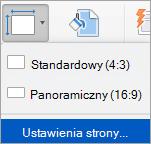 Przedstawia opcję Ustawienia strony w menu Rozmiar slajdu