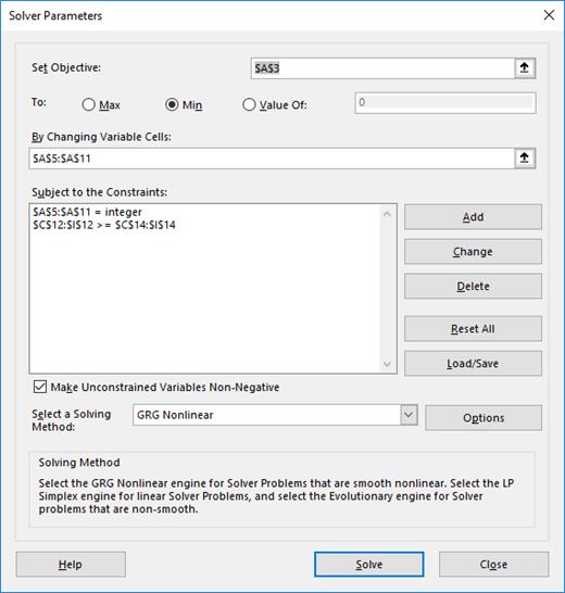 Okno dialogowe Parametry dodatku Solver