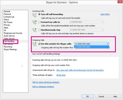 Zrzut ekranu przedstawiający okno dialogowe Obsługa połączeń z wyróżnioną sekcją Połączenia wychodzące