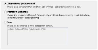 Wybieranie pozycji Internetowa poczta e-mail