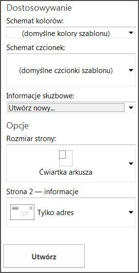 Opcje szablonu pocztówki dla wbudowanych szablonów programu Publisher.