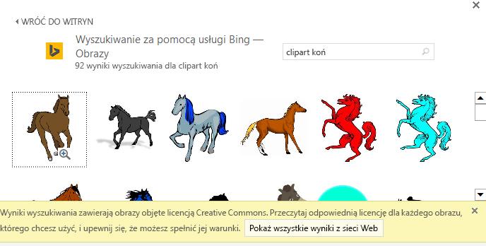 Wyszukanie obiektu clipart z koniem powoduje zwrócenie różnych obrazów objętych licencją Creative Commons.