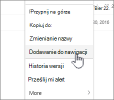 Dodawanie opcji nawigacji z listy stron