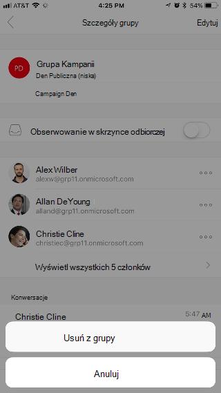"""Wyświetla stronę Szczegóły grupy zdwoma przyciskami u dołu strony — """"Usuń zgrupy"""" i""""Anuluj""""."""