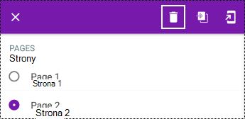 Usuwanie strony w długim menu kontekstowym w aplikacji OneNote dla systemu Android